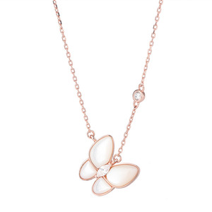 925 Sterling Silver Necklaces Elegant White Shell Butterfly Pendants for Women Girls Gifts 2020 Trendy Jewelry