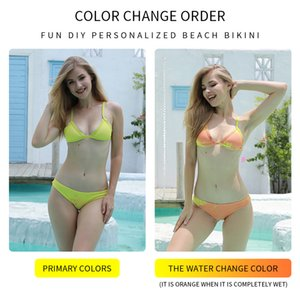 2020 New Item Swimsuit Changing Color Bikini Set Swimwear High Temperature Discoloration for Women Swimsuit Bathing Dropshipping