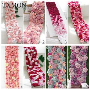 TXMON Individuelle 240cm Silk Rosen-Blumen-Wand-künstliche Blumen für Hochzeit Dekoration Wand Romantische Hochzeit Kulisse Dekor
