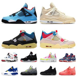 nike air jordan retro 4 off white Sail aj zapatos Hombres IV 4 Bred Splatter 4s Zapatillas de baloncesto Travis Scott Loyal Blue FIBA NEON Hot Punch Toro Zapatillas negras Talla 47