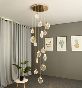 Led crystal chandelier  loft duplex pendant lights villa hotel modern ceiling lamps staircase round LED decorative lamp