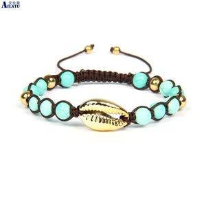 Ailatu Heißer Verkaufs-handgemachte natürliche Seashell Hand Knit Muscheln Armband mit 6mm natürlichen Howlite Steinperlen