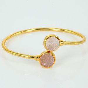 2020 multi colors pink rainbow golden blue purple round druzy stone golden copper alloy adjustable open bangles for women