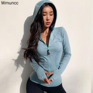 Wmuncc Energia senza saldatura Esecuzione di rivestimento delle donne del hoodie di sport di yoga Camicie Zipper Fitness Gym Tops maniche lunghe sportivo Stretch