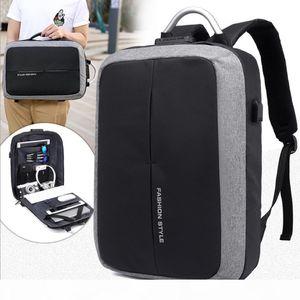 15 15.6 17 17.3 Zoll mit USB-Schnittstelle Password Lock Anti-Diebstahl-Nylon Notebook Laptop Rucksack für Männer Frauen Studenten