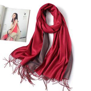 2020 Design Frauen Kaschmir-Schal wie Hijab Winter-Schal-Verpackung Pashmina reine feste Bandana Quaste Foulard Female Glitter Schal