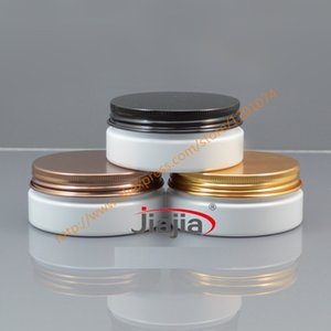 50 grams white PET Jar,Cosmetic Jar 50g white jar with gold bronze black aluminum Lid Make up Packaging Beauty Salon Equipment