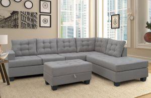 US Stock Sofa 3 pièces Canapé avec chaise longue et tabouret de rangement L Forme Couch Salon Meubles (Gris) SM000049EAA
