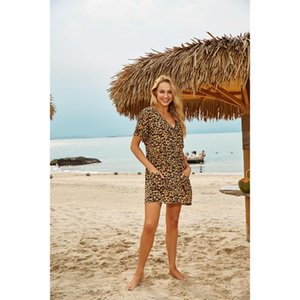 Europe and the United States new rayon leopard point loose sunscreen clothing beach vacation jacket cardigan bikini outer smock
