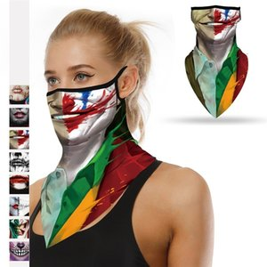 Halloween clown face shields sunscreen face shield printed mountaineering skiing dust-proof ear silk scarves T3I51159