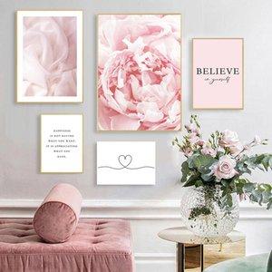Cópia da flor Poster Nordic Canvas Escandinávia parede Pôsteres Acredite Cotações arte da pintura Prints Pink Recados Pictures menina Room Decor