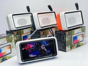 Soporte para teléfono Cgjxs Retro Tv altavoz inalámbrico portátil Mini Bluetooth altavoz bajo móvil del soporte del marco de fotos retro altavoz