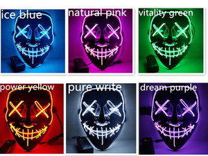 2020 new Halloween Horror mask LED Purge Cover Election Mascara Costume DJ Party Light Up Masks Glow In Dark Colors For Choosing