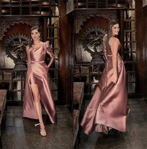 One Shoulder Evening Dresses Sheer Strap Long Custom Made Cocktail Dress Zipper Back High Split Prom Gowns Party Wear