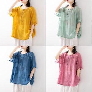 mZLJM fina ropa de algodón de colores sólidos verano literaria dOll suelta la muñeca de algodón y camisa de manga corta camisa de las mujeres de lino