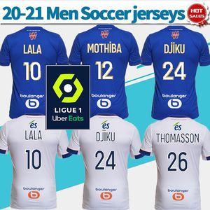 camisetas de fútbol Racing Estrasburgo azules caseros 20/21 # 12 # 27 MOTHIBA SISSOKO 2021 camisas del fútbol blanco ausente personalizados uniformes de fútbol