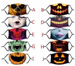 Máscara de Halloween reutilizável 3D Pintura Máscara abóbora Careta face algodão reutilizável Protective PM2.5 Carbono Filtros Máscara lavável Adulto Crianças Rosto