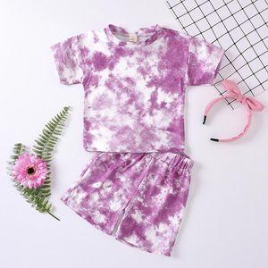Toddler Baby Kids Girls Boy Clothes Set Tie-dye Print Short Sleeve Summer T-shirt Tops Short Pants Casual Outfits Sleepwear Suit