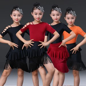 New Fringe Latin Dance Dress For Girls Child Salsa Tango Ballroom Dancing Dress Competition Costume Kids Practice Dance Clothes