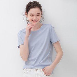 Yaz Bayanlar Merserize Pamuk İpek V-Yaka O-Yaka T-Shirt Buz İpek Saf Pamuk Yoga Giysileri Siyah dibe Gömlek K800G