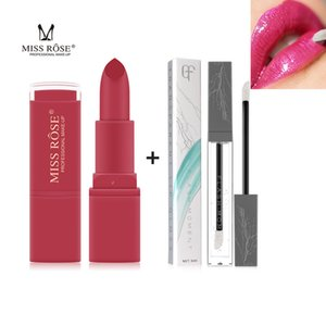 Miss Rose Matte lipstick with Clear Lip gloss Set Waterproof Velvet 12 Colors Pigmented Lip stick Maquiagem Liquid tint