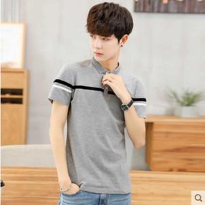 2020 men's shirts Korean version versatile short-sleeved T-shirt handsome slim popular logo casual shirt lapel T-shirt