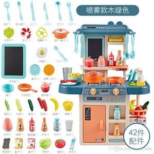 42pcs Simulação Música Luz do pulverizador de água Cozinha Brinquedos Kit Cooking Table Play House Fruit Mini Food utensílio Crianças Kids Brinquedos