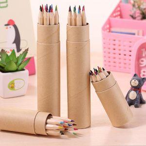 Quente colorido cor de chumbo desenho lápis de lápis de cor lápis conjuntos de 12 cores crianças coloridas desenho lápis crianças dhl livre
