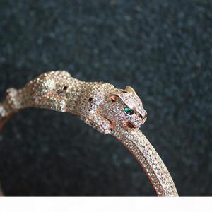 Leopard Head Bracelet Women Animal Diamond Bangles Charms Party Fine Jewelry