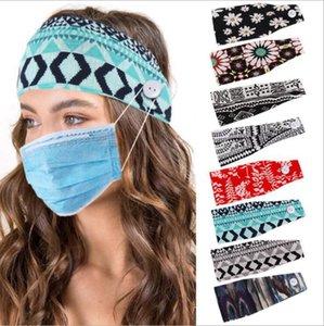 Mulheres Esporte Yoga Ampla alça Botão Stripes Imprimir Ears Proteger Doctor Elastic Headwrap Turban Cabelo Acessórios DDA356