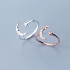 925 Sterling Silver Adjustable Mulheres Anéis strass Moon Star CZ anéis de casamento para as mulheres do partido Meninas Jóias Wedding 2020