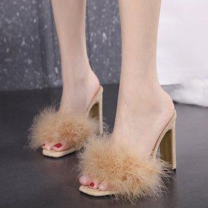 Terlik 2021 Yaz Seksi Tüy Kadın Şeffaf Kalın Yüksek Topuklu Kürk Stiletto Peep Toe Mules Bayan Slaytlar Ayakkabı Gül Kırmızı