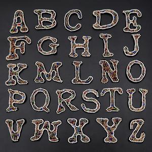20200816 cuciti a mano perle di 26 lettere dell'alfabeto inglese panno ricamato accessori di montaggio Contenitore attaccare cucire a mano