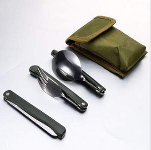 Wholesale 120sets lot Outdoor camping foldable spoon fork set stainless steel Picnic Tableware cook tool
