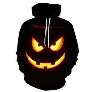 BIAOLUN 2020 Erkek Kazak Balkabağı Kralı Jack Skellington Evil Gülümseme Desen Bahar Erkekler Kapüşonlular Streetwear Cadılar Bayramı Partisi MX200813 Soğuk