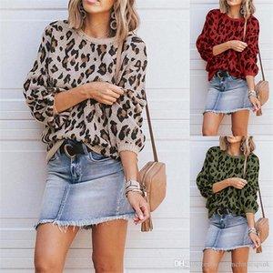 Camisolas Moda Pullover solto Tops Luxury camisola Womens Designer Leopard Impresso