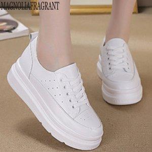 Blanco zapatillas de deporte de las mujeres zapatos de cuero genuinos Aumentar la manera de las mujeres dentro de los zapatos de verano Mujer Zapatillas zapatillas de deporte de la plataforma y97