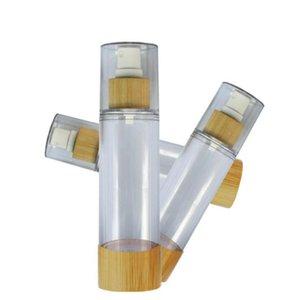 20/30/50/80/100 / 120ml de bambú cosmética Muestra Contenedores Emulsión Loción de bambú de vacío Botellas bomba sin aire