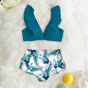 두 조각 인쇄 비키니 세트 수영복 여성 푸시 업 여름 마모 Swimall 폴리 에스테르 2,020 높은 허리 수영복