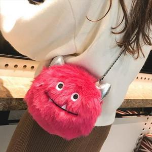 Fashion Monster Shoulder Bag Women Leather Messenger Small Bag Faux Fur Pink Black 4colors Girls Furry Crossbody Bags