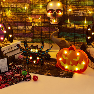Luz de Halloween del palo de la araña cráneo calabaza escritorio de la forma LED Party Pared lámpara de mesa decoración de interior al aire libre de la batería Operado luz de la noche
