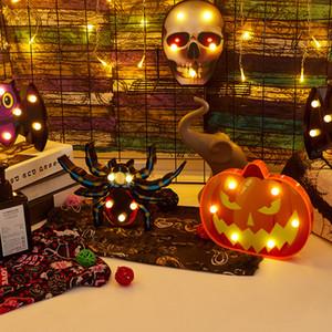 Хэллоуин свет Bat паук череп тыквы Форма LED Настольная лампа Настольная Wall Party Decor Крытый Открытый батарейках свет ночи
