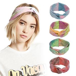 Bohemian Elastik Sport Kafa Kadınlar Kız Geniş Brim Başörtüsü Headdress Stretch Saç Bandı Aksesuarlar Çapraz Hairband Tie-boyalı