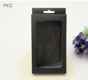 50Pcs Wholesale Kraft Paper Box Black Brown Cardboard Box with hang hole Phone Case Packaging Window Present Boxes