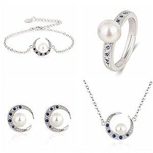 ejH1H coreano cor estilo jóias de prata Natural Crescent branco cravejado Azul apontou pulseira Brinco de Pérola Pérola colar anel de cristal pulseira