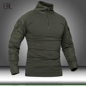 Men Camouflage Tactical T-shirts Mens Army Green Combat T Shirt Man Long Sleeve Military T-Shirt Men's Hunt T-shirts Outwear