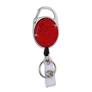 New Diamond Badge Reel Lanyard ID Card Badge Holder Ski Pass Multipurpose Key Chain Metal Anti-lost Clip Party Favor IIA455