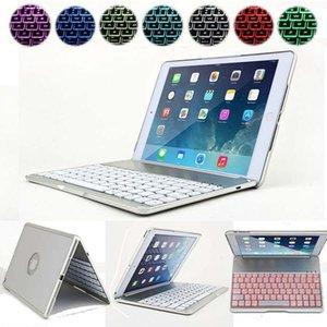 Teclado inalámbrico Bluetooth cubierta de la caja con el contraluz de aleación de aluminio de 7 colores de iluminación Fundas para iPad Pro 9 0.7 Nuevo 2018 Ipad aire 2