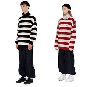 Couples sweater cardigan Sweater knitwear for men and women couples Hong Kong style red and white striped turtleneck sweater new autumn