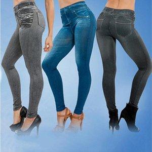 Womens Plus Size Leggings Fashion Jeans Denim Design Leggings Pants Ladies Imitation Jeans Drop Shipping Good Quality
